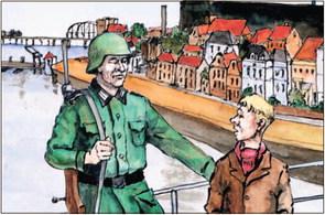 Hans Stempher maakte de prenten in het boek over de vriendschap tussen de jonge Hans uit de Raambuurt en een Duitse soldaat.